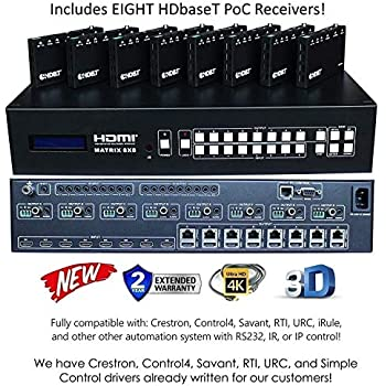8x16 HDbaseT 4K Matrix SWITCHER 8x8 16x16 with 8 Receivers (CAT5e or CAT6)  HDMI HDCP2 2 HDTV Routing SPDIF Audio CONTROL4 Savant Home Automation (8x16
