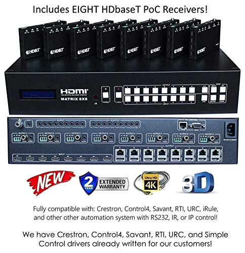 8x16 HDbaseT 4K Matrix SWITCHER 8x8 16x16 with 8 Receivers (CAT5e or CAT6) HDMI HDCP2.2 HDTV Routing SPDIF Audio CONTROL4 Savant Home Automation (8x16 HDbaseT Matrix - - Matrix Switcher Av