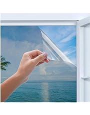 Rhodesy Uv Reflective Mirror Window Film, Homegoo One Way Silver Reflective Adhesive Privacy Mirror Window Film, Anti UV Heat Control Sun Blocker, Privacy Protection Glass Tint Sticker
