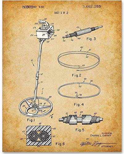 Metal Detector - 11x14 Unframed Patent Print - Makes a Great Gift Under $15 for Explorers ()