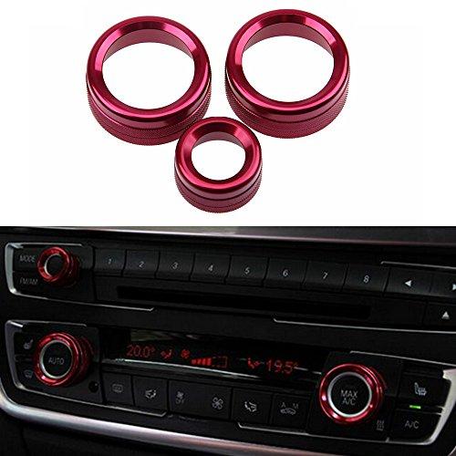 PolarLander 3Pcs/Lot Car Air Conditioning Rings Radio Volume Knob Ring Covers Decorative Circle Trim For BMW 1 2 3 3GT 4 Series (F20 F22 F30 F31 F32 F33 F80 F82 F87) High Match Red