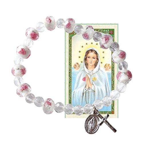 Rosa Mistica Brazalete Rosario de Cristal Rosa de Viena con Crucifijo y Medalla Colgante y Postal de Rezo Bendecida
