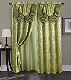 Cheap Golden Linen, Rahaf Collection 2pc Curtain set with attached valance and backing 55×84″ each (green)