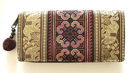 Wallet by WP Embroidery Elephant Flower Zipper Wallet Purse Clutch Bag Handbag Iphone Case Handmade for Women, Brawn Wallet