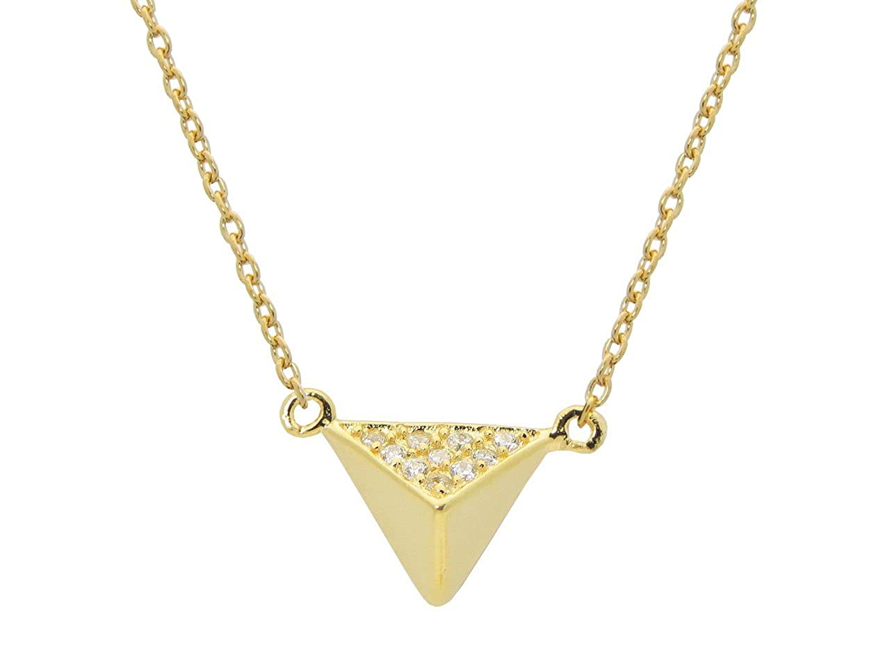Fronay Collection Silver Gold Plated Triangle Pyramid Pendant Necklace 15 1 Cz Side .9mm