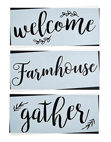 Gather, Welcome, Farmhouse Stencil Set | Large Beautiful