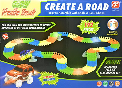 192 Piece Bendable, Flexible Race Car Track Set includes 2 Battery Operated Cars with Flashing Headlights & Glow in the Dark Track Pieces