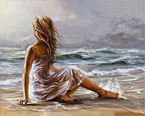 (DIY Oil Painting Paint by Number Kit for Kids Adults Beginner 16x20 inch -Sexy Woman on The Beach,Drawing with Brushes Christmas Decor Decorations Gifts (Frame) )