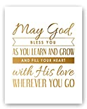 May God Bless You Motivational Gold Art Print (8x10'') - Perfect Communion, Baptism Gift, Christening or Baby Gift - Beautiful Gold and White Typography Artwork - Christian Baby Gift