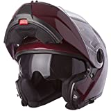 LS2 Helmets Strobe Solid Modular Motorcycle Helmet with Sunshield (Wineberry, X-Small)