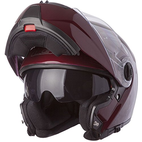 - LS2 Helmets Strobe Solid Modular Motorcycle Helmet with Sunshield (Wineberry, Small)