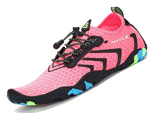 Mujer Cordones Calzado Aqua Deportes Acuáticos Cycling Surf Snorkel Hombre Escarpines Zapatos Mar Buceo Playa De Río Para Piscina Vela rosado Agua Natación qRqwOPHnxZ