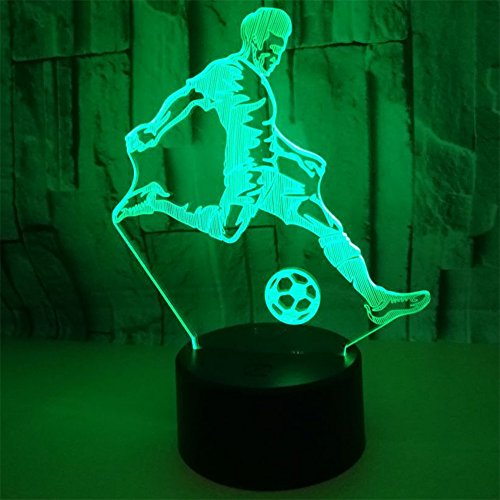 RUIYI Football Player 3D Visual Lamp Table Illusion Lamps,7 Color Change Lamp with Base For Friend Boy Kid Birthday Gift by RUIYI