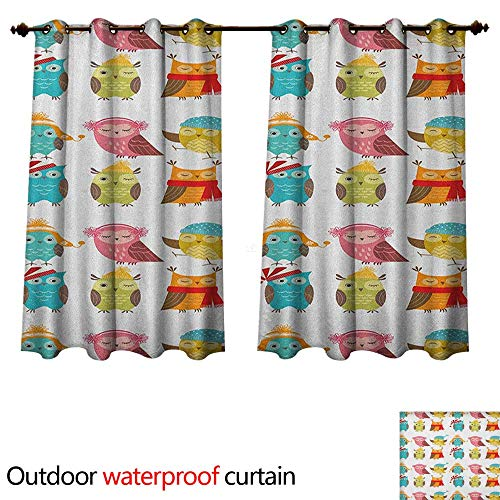 Anshesix Winter Home Patio Outdoor Curtain Cartoon Style Funny Owls Cute Characters Hats and Scarf Colorful Birdies Pattern W55 x L72(140cm x 183cm) -