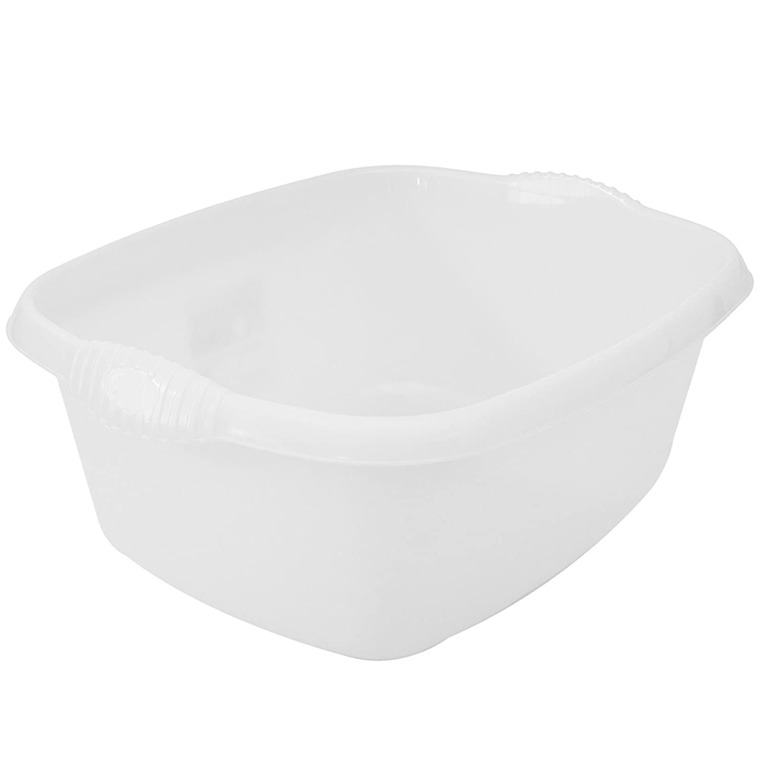 ASAB 38cm Rectangle Washing Up Bowl Sink Basin Medium Mixing High Grade Plastic With Raised Feet To Aid In Drainage Ideal Wash Up Bowl For Camping - White
