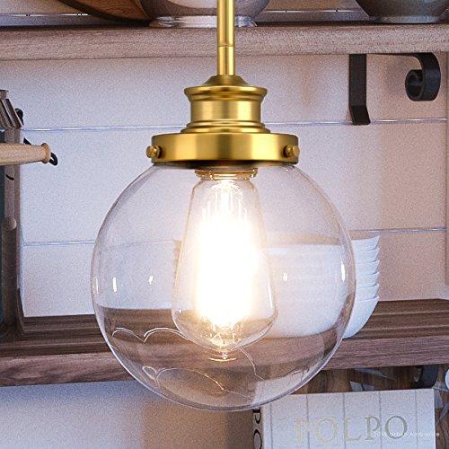 Satin Pendant Clear Gold (Luxury Vintage Pendant Light, Small Size: 9.5