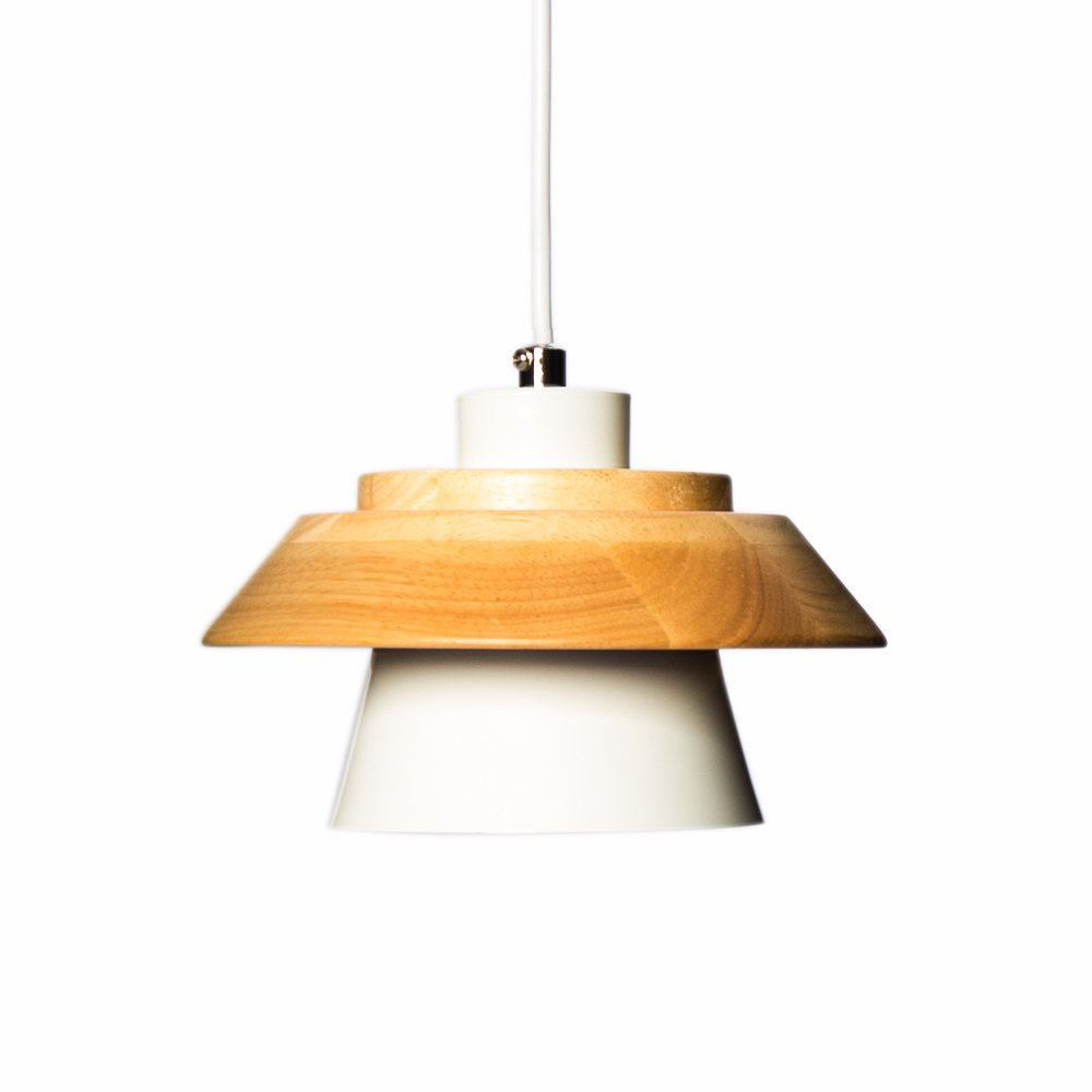 Modern Pendant Light Art Deco Lighting Fixture Loft Pendant Lamp, 1-Light Ceiling Light Adjustable Hanging Height, Ceiling Mounted, Wooden Decoration Style (White)