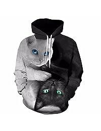 Cute Black & White Cat Sweatshirt Kawaii Long Sleeve Animal Hoody Women Men Spring Pullovers Funny Tops