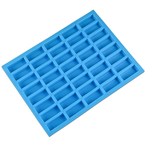 V-fox 40 Cavities Rectangle Caramel Silicone Molds for Chocolate Truffles, Ganache, Jelly, Candy and Praline, Ice Cube Tray, Random Color, Medium,