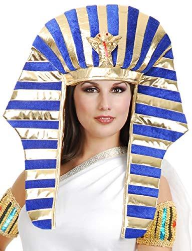 Gold and Royal Blue King TUT Pharaoh Egyptian Costume Headpiece Set One Size ()