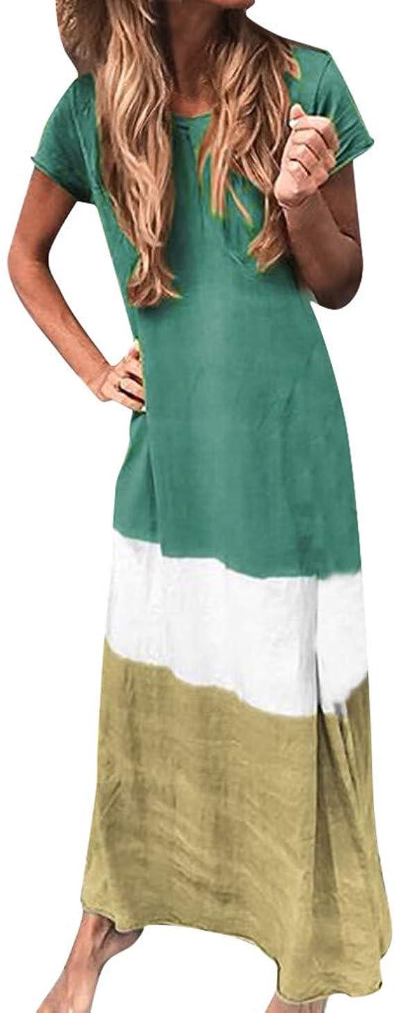 LUGOW Maxikleid Damen Freizeit Kleider Party Ballkleid Bohemien  Farbblock-Patchwork Abendkleider Lang Kleider Strandkleid Online Sale  Sommerkleider