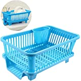 Kitchen Plastic Dish Drainer Drying Sink Rack with Drain Board and Utensil Cup Utensil Cutlery Plate Basket Holder Organizer Tray (Blue)
