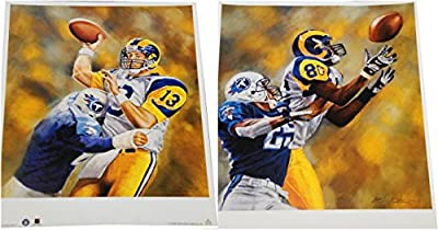 Kurt Warner + Isaac Bruce 16x19 Posters Unsigned Throwing Football Catch Rams