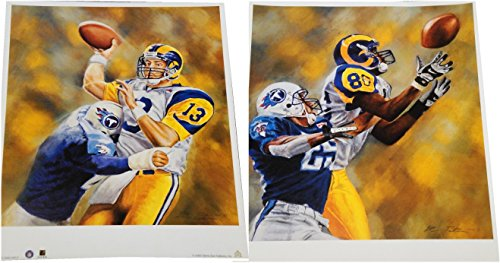Kurt Warner + Isaac Bruce 16x19 Posters Unsigned Throwing Football Catch Rams - Kurt Warner Photos