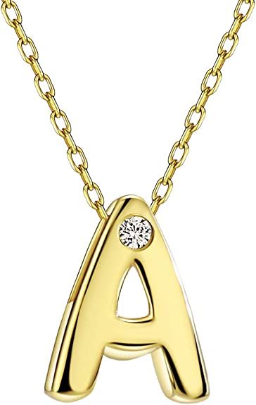 """Yellow Gold-Tone Sterling Silver White CZ Initial /""""C/"""" Necklace Pendant"""