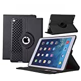 #10: iPad Air Case, TabPow [360 Degree Rotating Case] Black Premium PU Leather TPU Flip Case Smart Cover Stand with Card Slots, Pocket, Elastic Hand Strap For Apple iPad Air / iPad 5