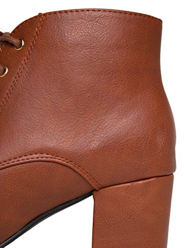 J. Adams Low Block Heel Ankle Boot - Casual Easy Lace up Bootie - Faux Suede Walking Shoe - Aubrey by Tan Pu vJ5Djt