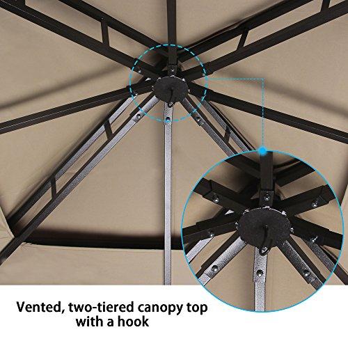 Cloud Mountain Garden Gazebo 130'' x 130'' Outdoor Gazebo with Mosquito Netting Metal Patio Gazebo Canopy Double Roof Vented BBQ Gazebo, Sand by Cloud Mountain (Image #6)