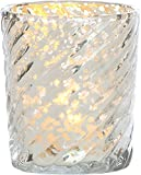 Luna Bazaar Vintage Mercury Glass Candle Holder (3-Inch, Grace Design, Swirl Motif, Silver) - For Use with Tea Lights - For Home Decor, Parties, and Wedding Decorations