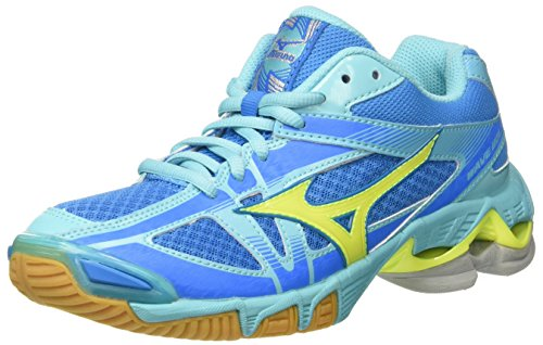 Mizuno WoMen Wave Bolt WOS Volleyball Shoes Multicolor (Divablue/Safetyyellow/Blueradiance)