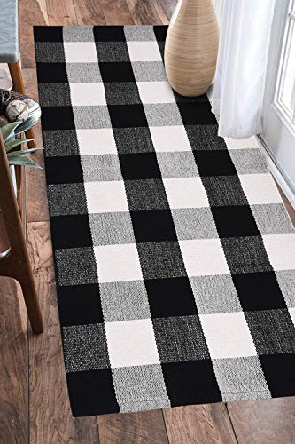 EARTHALL Cotton Buffalo Black and White Plaid Rugs, Hand-Woven Check Door Mat, Hallway runner, Washable Outdoor Rug Kitchen/Front Porch/Living room/Laundry Room/Bathroom/Bedroom (23.6X51.2)