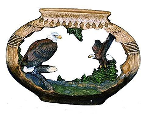 9 Inch Pottery Carving 2 Eagles and Tree Design Collectible Figurine - Antler Carving