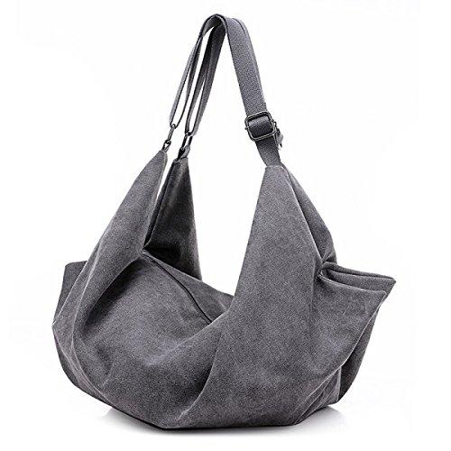 Frauen Jahrgang Leinwand Messenger Aktentasche Schulter Handtasche Arbeiten Sport Tasche ,Grey-OneSize