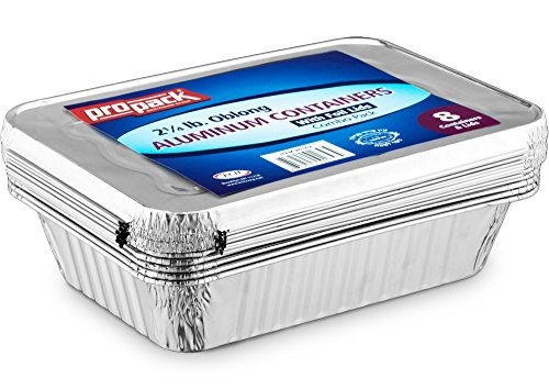 Propack Disposable Aluminum Oblong Foil Pans, Containers, With Foil Lids, 2 ¼ lb. Food Storage Containers Pack Of 8