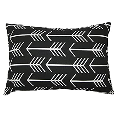 JinStyles Arrow Cotton Canvas Lumbar Decorative Throw Pillow Cover (Black and White, 12 x 18 inches)