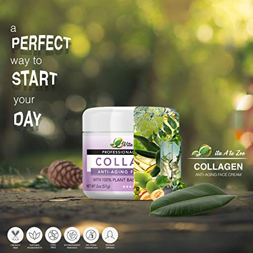 Collagen Anti-Aging Face Cream | Smoothen Wrinkles & Fine Lines | Professional Strength Cream for Face & Neck | With Squalane Oil, Jojoba Oil, Aloe Gel, Argon Oil | Skin Firming & Smoothing Cream 2 Oz
