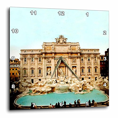 3dRose LLC Trevi Fountain Italy Wall Clock, 10 by 10-Inch
