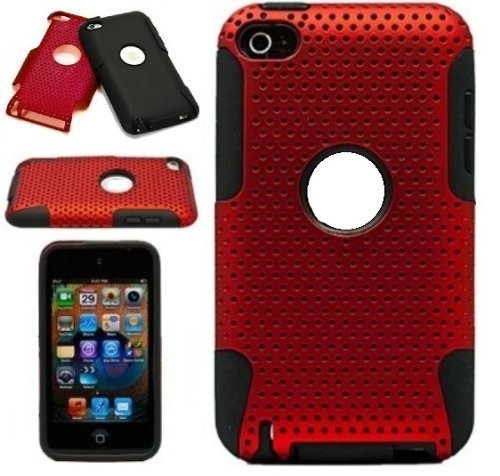 - Protective Dual Hard Case and Soft Silicone Skin for Apple iPod Touch 4th Generation (Metallic Red)