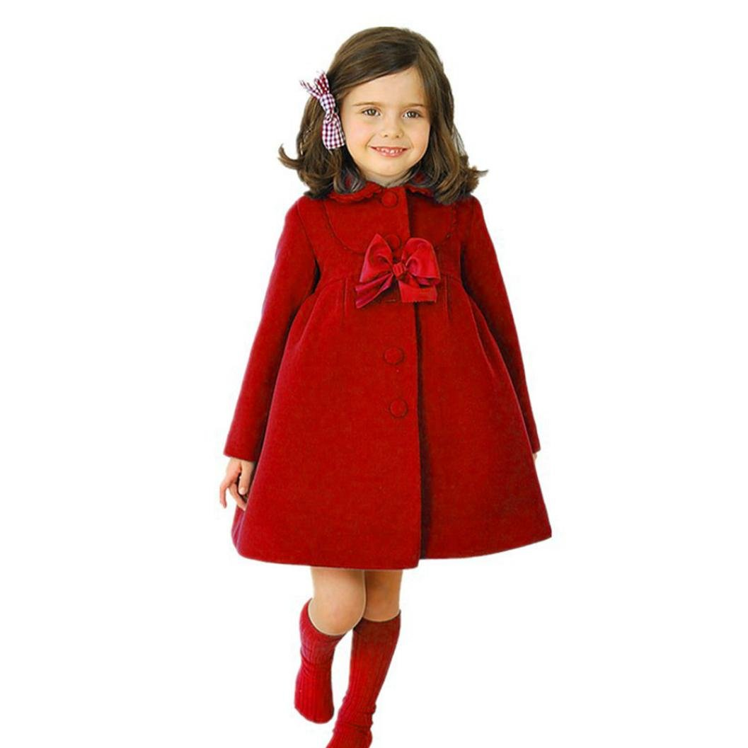 TiTCool Toddler Baby Girls Autumn Winter Cloak Jacket Bow Overcoat Thick Warm Clothes (4T, Red)