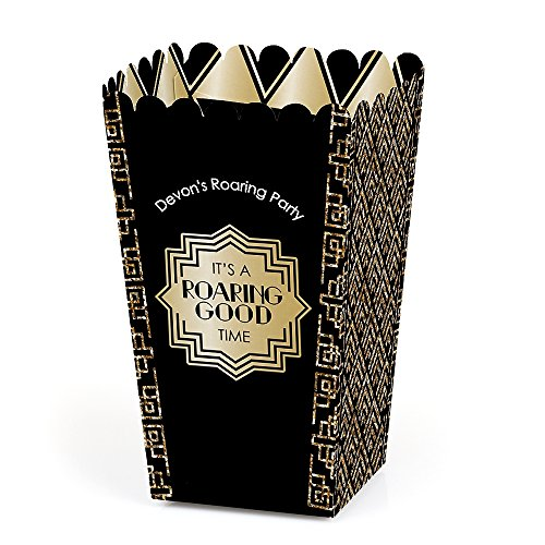 Personalized Roaring 20's - Custom 1920s Art Deco Jazz Party Favor Popcorn Treat Boxes - Custom Text - Set of 12