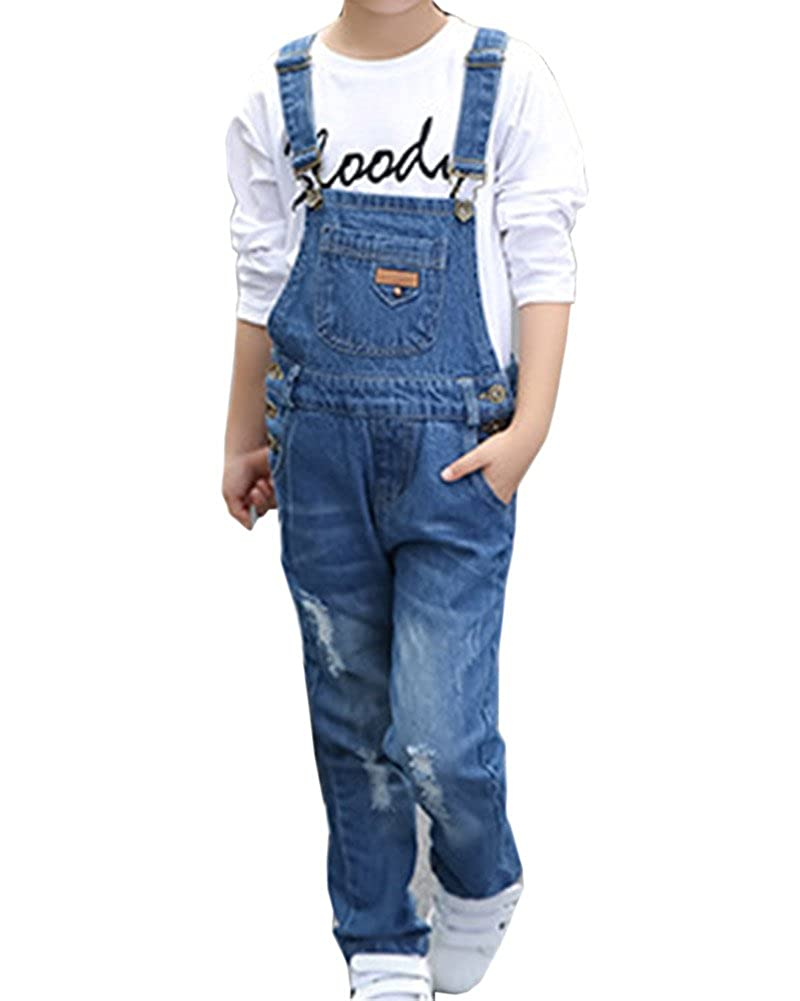 Mädchen Denim Latzhose Overall Jeans Hose Mit Hosenträger Denim Stretch Dungaree Jumpsuit