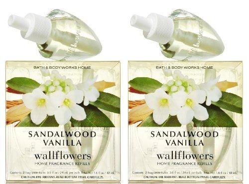 Set of 2 Bath & Body Works Sandalwood Vanilla Wallflower Refill Bulb 2-packs (4 Bulbs Total)