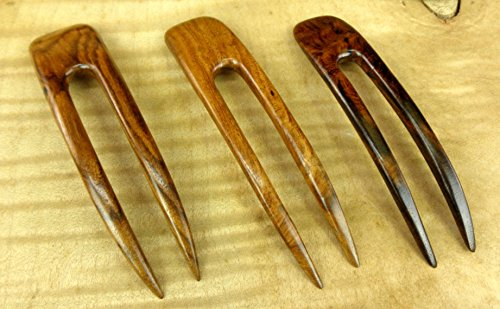 JWL (1) Rosewood Two Prong Curved 4.5 Inch Hair Stick Pick Pic Pin Fork - Hawaiian Style