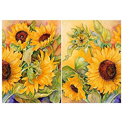 Great Painting Calligraphy   2pcs Set Nordic Sunflower Oil Canvas Painting Home  Sofa Background Bar Wall Pictures