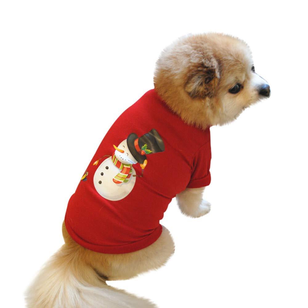 Vêtements pour Chien,Noël Chien T-Shirt Polyester Costume Chiot,Pet Manteaux (XS, Rouge)