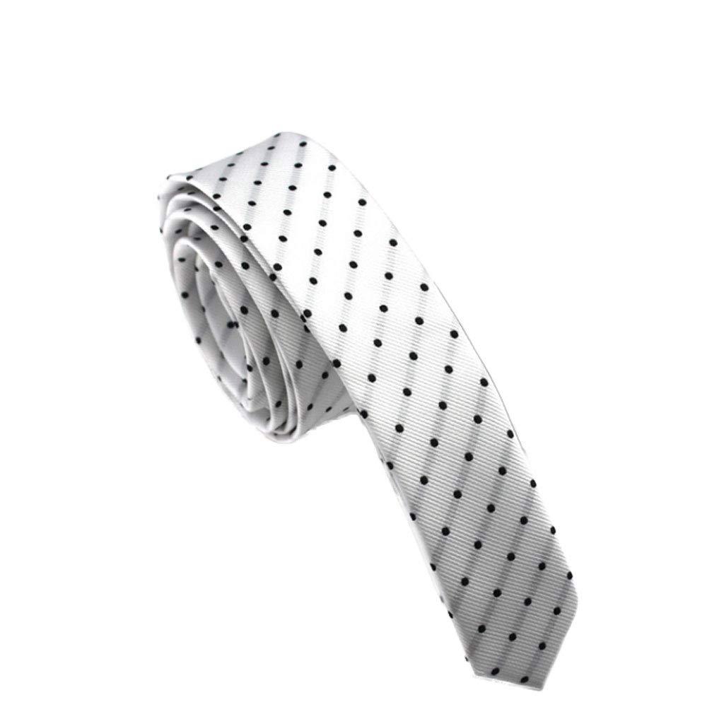 Wangyi Corbata- Hombres, Corbata de Lunares 4cm (Color : Blanco ...